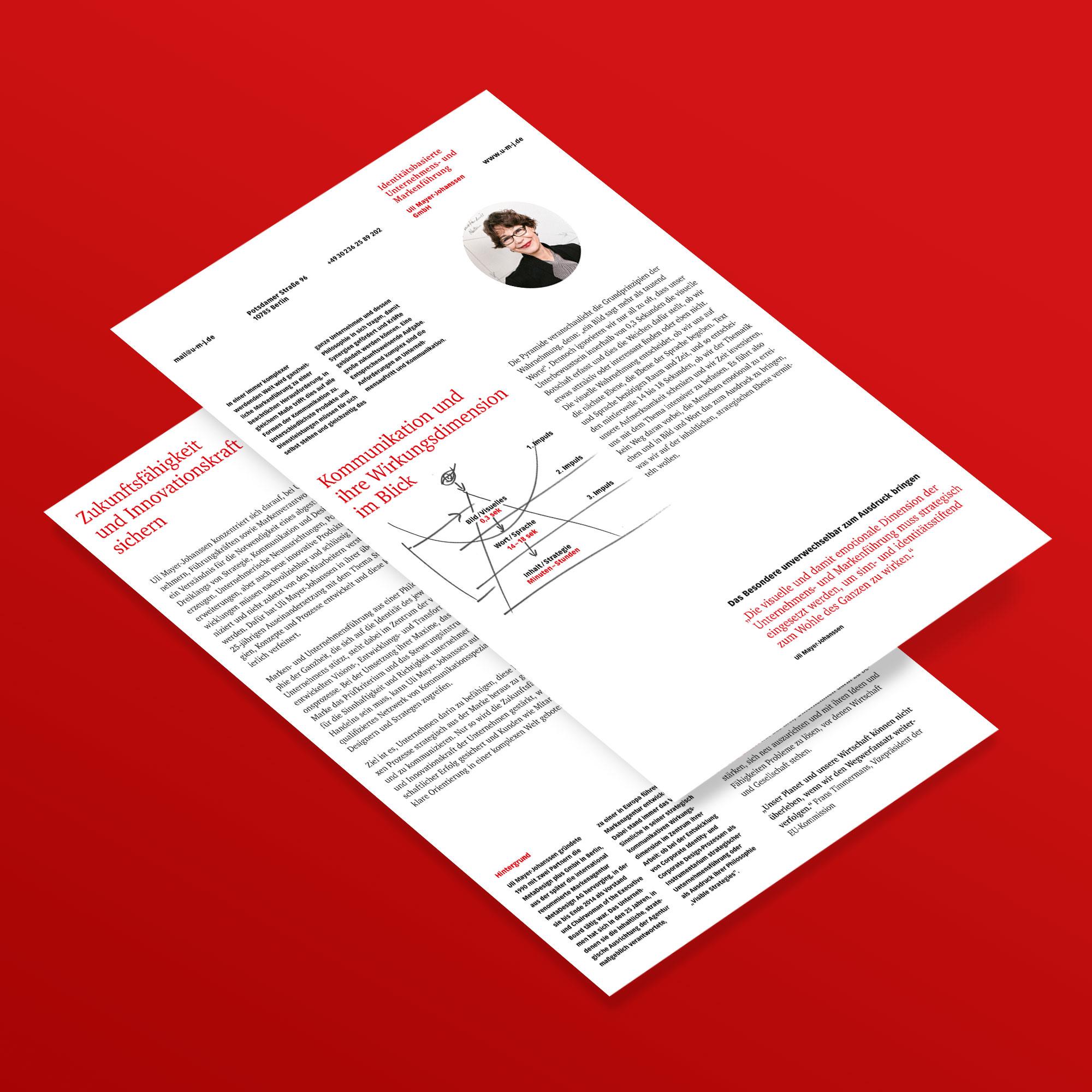 Das Besondere unverwechselbar zum Ausdruck bringen: Flyer der UMJ GmbH
